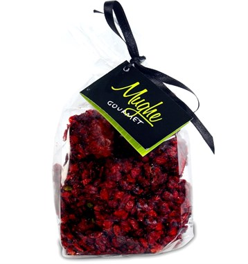 Luxury Barberry Coated Turkish Delight, Pomegranate Flavor with Pistachio, Transparent Bag,  Zereshk Berries Turkish Delight 250gr